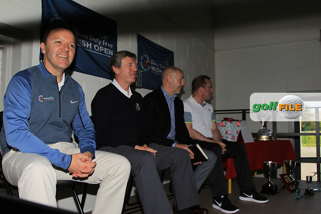 James Finnegan (European Tour), Des Smyth (Pro-Golfer), Brian McIlroy (Rory Foundation) and Barry Funston (CEO Rory Foundation) pictured during a visit with the Dubai Duty Free Irish Open Trophy to St. Anne's National School in Straffan, Ardclough, Co. Kildare<br /> Picture: Golffile | Thos Caffrey<br /> <br /> All photo usage must carry mandatory copyright credit <br /> (&copy; Golffile | Thos Caffrey)