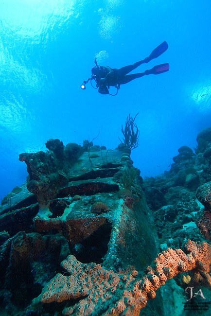 Diver hovers over shipwreck at Captain Don's house reef