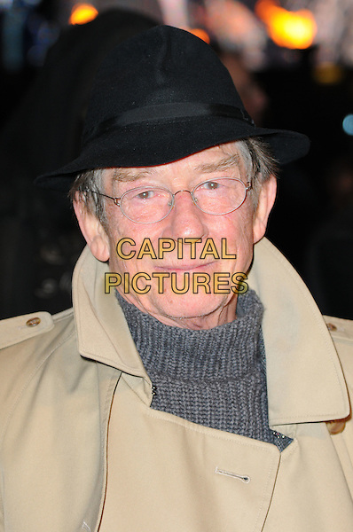 "JOHN HURT .""Harry Potter And The Deathly Hallows: Part 1"" World Film Premiere, Empire cinema Leicester Square and Odeon Leicester Square, London, England, UK, 11th November 2010. .portrait headshot black hat glasses grey gray polo neck glasses beige .CAP/CAS.©Bob Cass/Capital Pictures."