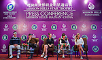 HAIKOU, CHINA - OCTOBER 28:  (L-R) New Zealand golfer Danny Lee, Hollywood actor Matthew McConaughey, Oscar-winning actress Catherine Zeta-Jones, Solheim Cup's captain Rosie Jones of the USA and Spanish golfer Belen Mozo attend a press conference during the Mission Hills Star Trophy on October 28, 2010 in Haikou, China. The Mission Hills Star Trophy is Asia's leading leisure liflestyle event and features Hollywood celebrities and international golf stars. Photo by Victor Fraile / The Power of Sport Images