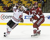 Tyler McNeely (NU - 94), Dave MacDonald (Harvard - 14) - The Harvard University Crimson defeated the Northeastern University Huskies 3-1 on Monday, February 4, 2008, in the opening game of the 2008 Beanpot at TD Banknorth Garden in Boston, Massachusetts.