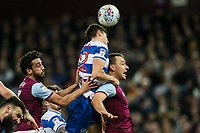 Queens Park Rangers' Pawel Wszolek wins a ball in the air under pressure from Aston Villa's Neil Taylor and John Terry<br /> <br /> Photographer Andrew Kearns/CameraSport<br /> <br /> The EFL Sky Bet Championship -  Aston Villa v Queens Park Rangers - Tuesday 13th March 2018 - Villa Park - Birmingham<br /> <br /> World Copyright &copy; 2018 CameraSport. All rights reserved. 43 Linden Ave. Countesthorpe. Leicester. England. LE8 5PG - Tel: +44 (0) 116 277 4147 - admin@camerasport.com - www.camerasport.com
