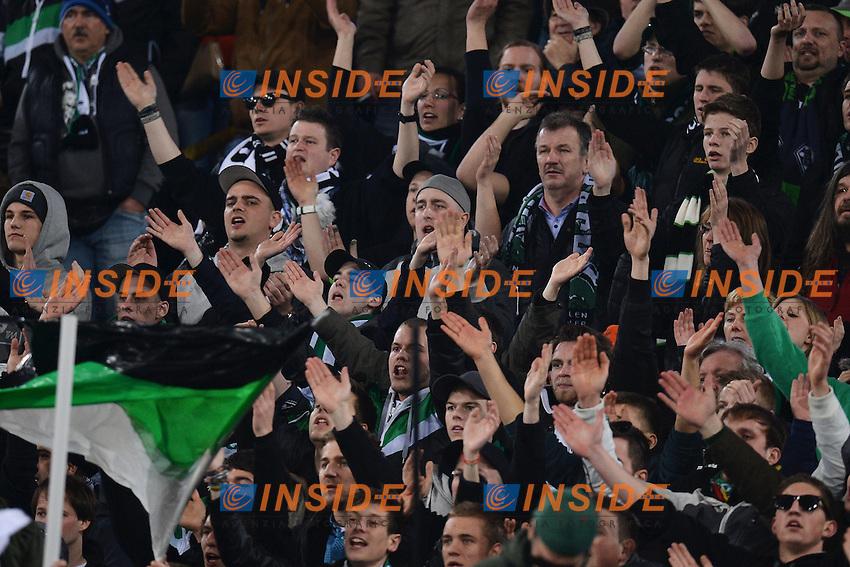 Tifosi Borussia Supporters.Roma 21/02/2013 Stadio Olimpico.Football Calcio 2012/2013 Europa League.Lazio Vs Borussia Moenchengladbach.Foto Andrea Staccioli Insidefoto