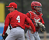 Logan O'Hoppe #6, St. John the Baptist catcher, right, and third baseman James Kibitel #4 celebrate after thei team's 4-0 win over Chaminade in eight innings in a CHSAA varsity baseball game at Cantiague Park on Friday, Apr. 29, 2016.