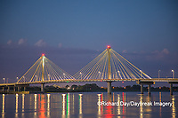63895-15403 Clark Bridge at dusk-night over Mississippi River Alton, IL