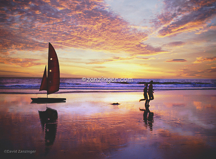 Santa Monica, Joggers, sabot sailboat, Fiery Sunset High dynamic range imaging (HDRI or HDR)
