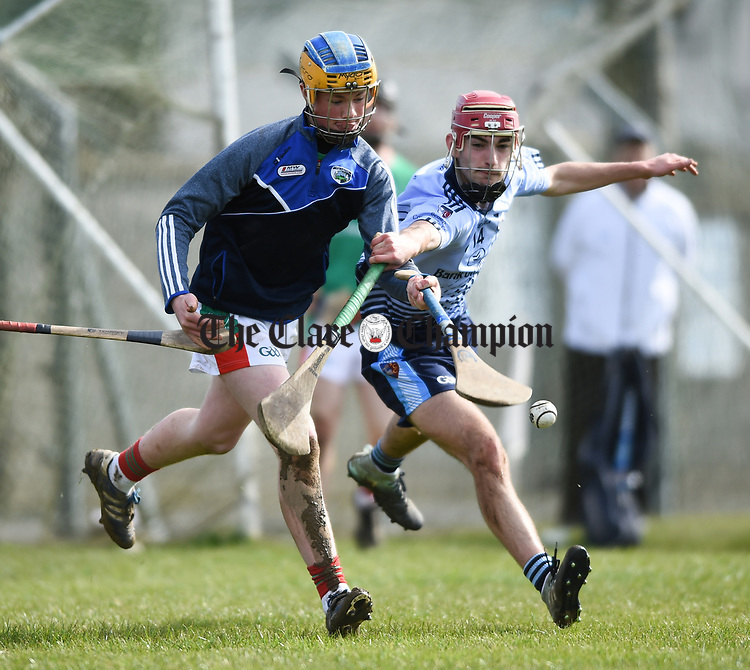 Cathal Dunne of St Fergal's College in action against Ciaran Keenan of Scariff Community College during their All-Ireland Colleges final at Toomevara. Photograph by John Kelly.