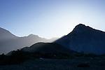 Backlit mountains, Bahia de los Angeles, Baja California, Mexico