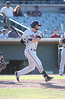 T.J. Bennett (12) of the San Jose Giants bats against the Lancaster JetHawks during the first game of a doubleheader at The Hanger on July 14, 2016 in Lancaster, California. Lancaster defeated San Jose, 3-0. (Larry Goren/Four Seam Images)