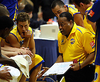 Otago coach Don Sims talks to his team during a timeout during the NBL Basketball match between Wellington Saints and Otago Nuggets at TSB Bank Arena, Wellington, New Zealand on Sunday, 30 March 2008. Photo: Dave Lintott / lintottphoto.co.nz