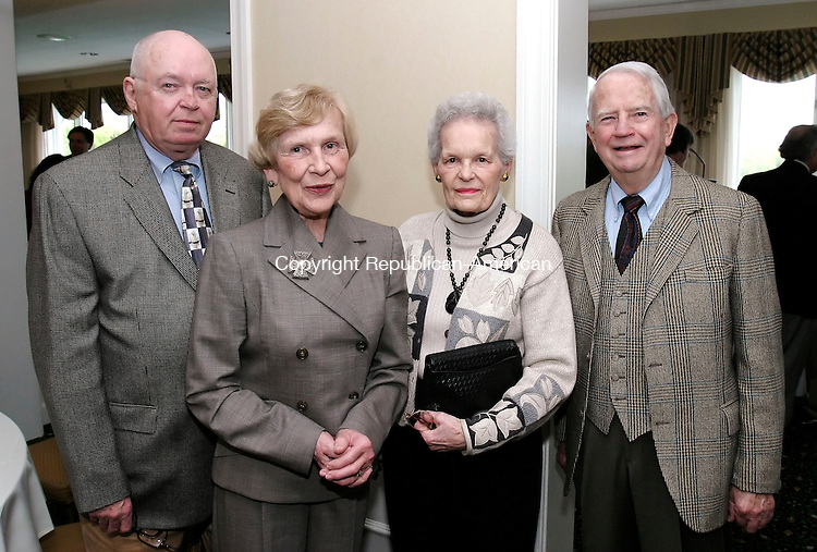 WATERBURY, CT, 13 May 2006- 051306BZ07- From left- Dr. Robert Harkins, of Middlebury; Shirley Harkins, of Middlebury; Lois Gerber, of Southbury; Dr. Ed gerber, of Southbury, general surgery; <br /> during the annual Waterbury Hospital Medical Staff Reception at the Country Club of Waterbury Saturday evening.<br /> Jamison C. Bazinet Republican-American