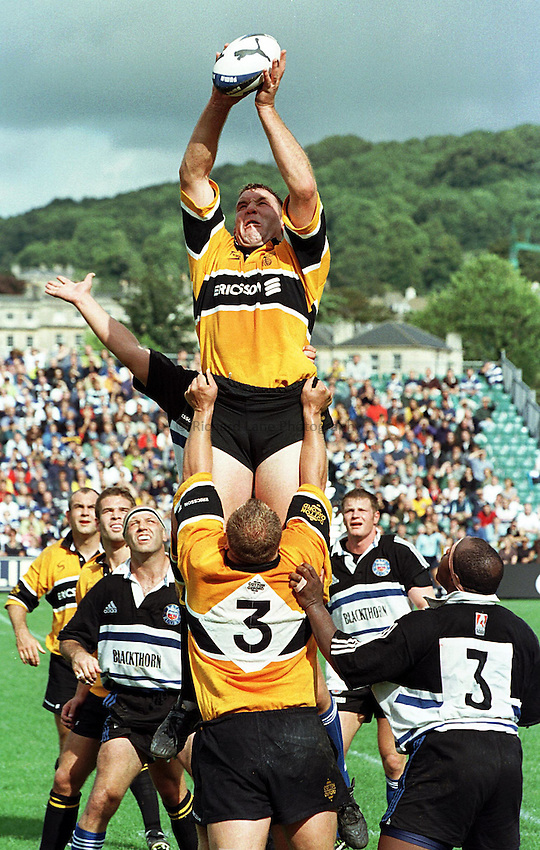 Photo: Ken Brown.5.9.98  Bath v Wasps.Mark Weedon takes a line out