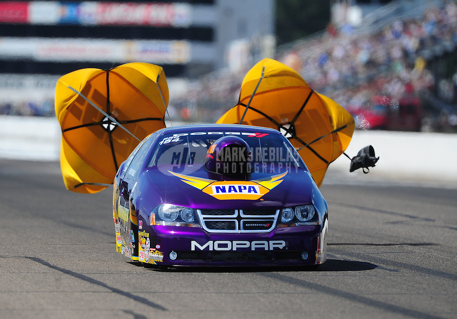 Aug. 20, 2011; Brainerd, MN, USA: NHRA pro stock driver Vincent Nobile during qualifying for the Lucas Oil Nationals at Brainerd International Raceway. Mandatory Credit: Mark J. Rebilas-