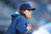 Durham Bulls pitcher Brent Honeywell (21) watches from the dugout during the game against the Buffalo Bisons at Durham Bulls Athletic Park on April 30, 2017 in Durham, North Carolina.  The Bisons defeated the Bulls 6-1.  (Brian Westerholt/Four Seam Images)