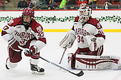 Desmond Bergin (Harvard - 37), Steve Michalek (Harvard - 34) - The Harvard University Crimson defeated the visiting Princeton University Tigers 5-0 on Harvard's senior night on Saturday, February 28, 2015, at Bright-Landry Hockey Center in Boston, Massachusetts.