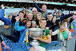 Kerry captain Fionn Fitzgerald celebrates with his family after Kerry's victory over Donegal in Croke Park on Sunday.<br /> Picture by Don MacMonagle