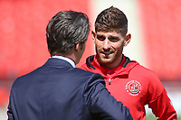 Fleetwood Town's Ched Evans chats with manager Joey Barton before kick off<br /> <br /> Photographer David Shipman/CameraSport<br /> <br /> The EFL Sky Bet League One - Doncaster Rovers v Fleetwood Town - Saturday 17th August 2019  - Keepmoat Stadium - Doncaster<br /> <br /> World Copyright © 2019 CameraSport. All rights reserved. 43 Linden Ave. Countesthorpe. Leicester. England. LE8 5PG - Tel: +44 (0) 116 277 4147 - admin@camerasport.com - www.camerasport.com