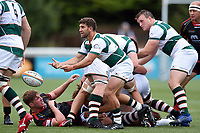 Luke Carter of Ealing Trailfinders passes the ball. Pre-season friendly match, between Ealing Trailfinders and the Dragons on August 11, 2018 at the Trailfinders Sports Ground in London, England. Photo by: Patrick Khachfe / Onside Images