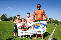 Picture by Brendon Ratnayake/SWpix.com - 14/02/2018 - Rugby League - Dacia World Club Challenge - Melbourne Storm v Leeds Rhinos - Gosch's Paddock, Melbourne, Australia - Young fans take a photo with Ryan Hall of Leeds Rhinos
