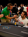 Professional golfer Sergio Garcia and Pokerstars Team Pro Juan Manuel Pastor celebrate making the money in the 2012 PCA Main Event.