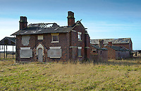 Derelict farm house and farm buildings at Burscough, South West Lancashire.