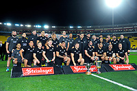 The All Blacks team pose for a group photo after the Steinlager Series international rugby match between the New Zealand All Blacks and France at Westpac Stadium in Wellington, New Zealand on Saturday, 16 June 2018. Photo: Dave Lintott / lintottphoto.co.nz
