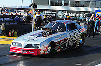 Feb. 17 2012; Chandler, AZ, USA; Tim Boychuk makes an exhibition run in his nostalgia funny car at the NHRA Arizona Nationals at Firebird International Raceway. Mandatory Credit: Mark J. Rebilas-