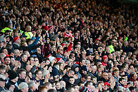 Lincoln City fans celebrate their teams goal, scored by Harry Anderson<br /> <br /> Photographer Chris Vaughan/CameraSport<br /> <br /> Emirates FA Cup First Round - Lincoln City v Northampton Town - Saturday 10th November 2018 - Sincil Bank - Lincoln<br />  <br /> World Copyright © 2018 CameraSport. All rights reserved. 43 Linden Ave. Countesthorpe. Leicester. England. LE8 5PG - Tel: +44 (0) 116 277 4147 - admin@camerasport.com - www.camerasport.com