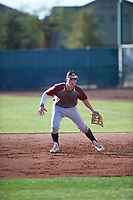 Cullen Moes (7) of St. Bonaventure High School in Ventura, California during the Baseball Factory All-America Pre-Season Tournament, powered by Under Armour, on January 14, 2018 at Sloan Park Complex in Mesa, Arizona.  (Zachary Lucy/Four Seam Images)