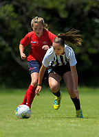 Action from the 2019 National Age Group Tournament Under-14 Girls football match between Northern and WaiBoP at Memorial Park in Petone, Wellington, New Zealand on Sunday, 15 December 2019. Photo: Dave Lintott / lintottphoto.co.nz
