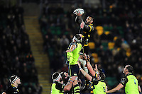 Courtney Lawes of Northampton Saints wins the ball at a lineout. European Rugby Champions Cup match, between Northampton Saints and Leinster Rugby on December 9, 2016 at Franklin's Gardens in Northampton, England. Photo by: Patrick Khachfe / JMP