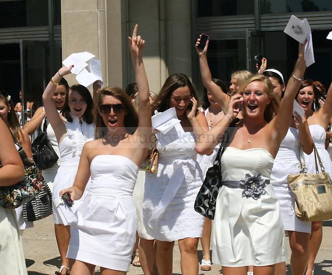 Girls celebrate on sorority bid day at memorial coliseum on August 20, 2010.