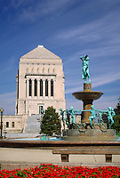 Indiana War Memorial Shrine building and fountain in University Park in downtown Indianapolis, Indiana. Indianapolis Indiana.