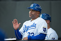 Burlington Royals manager Omar Ramirez (33) during the game against the Danville Braves at Burlington Athletic Stadium on August 12, 2017 in Burlington, North Carolina.  The Braves defeated the Royals 5-3.  (Brian Westerholt/Four Seam Images)