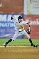 Lynchburg Hillcats shortstop Daniel Castro (12) throws to first during a game against the Salem Red Sox on April 25, 2014 at Lewisgale Field in Salem, Virginia.  Salem defeated Lynchburg 10-0.  (Mike Janes/Four Seam Images)