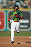 Jawuan Harris (2) of the Fort Wayne TinCaps rounds the bases after hitting a home run in the bottom of the first inning against the West Michigan Whitecaps at Parkview Field on August 5, 2019 in Fort Wayne, Indiana. The TinCaps defeated the Whitecaps 9-3. (Brian Westerholt/Four Seam Images)