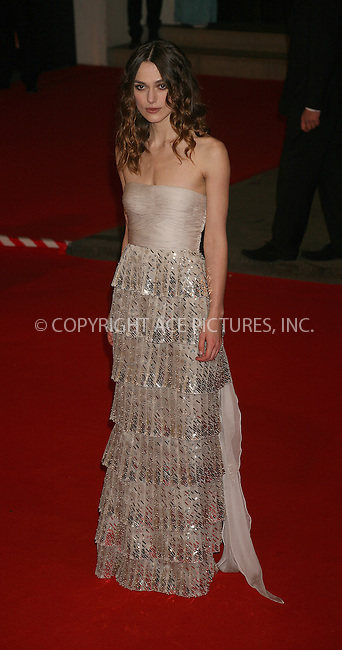 Ferrari Press Agency.Ref TMK 2021.BAFTAS08.10/2/08.Picture: Tracy Moreno King..The BAFTA UK film awards 2008 at the Royal Opera House, Covent Garden...OPS: Keira Knightley