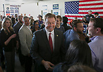Senator Dean Heller meets with his campaign volunteers at the RNC field office in Reno, Thursday, Nov. 1, 2018.