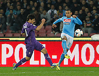Faouzi Ghoulan    in action during the Italian Serie A soccer match between SSC Napoli and AC Fiorentina   at San Paolo stadium in Naples, March 22 , 2014