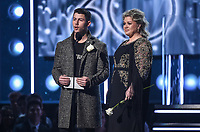 NEW YORK - JANUARY 28: Nick Jonas and Kelly Clarkson appear on the 60th Annual Grammy Awards at Madison Square Garden on January 28, 2018 in New York City. (Photo by Frank Micelotta/PictureGroup)
