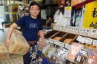 Kawabe Hiroyuki, CEO of Kawabe Shoten katsuobushi shop, Tsukiji, Tokyo, Japan, July 23, 2009. Kawabe Shoten sells fine katsuobushi to restaurants and serious amateur chefs in Tokyo.