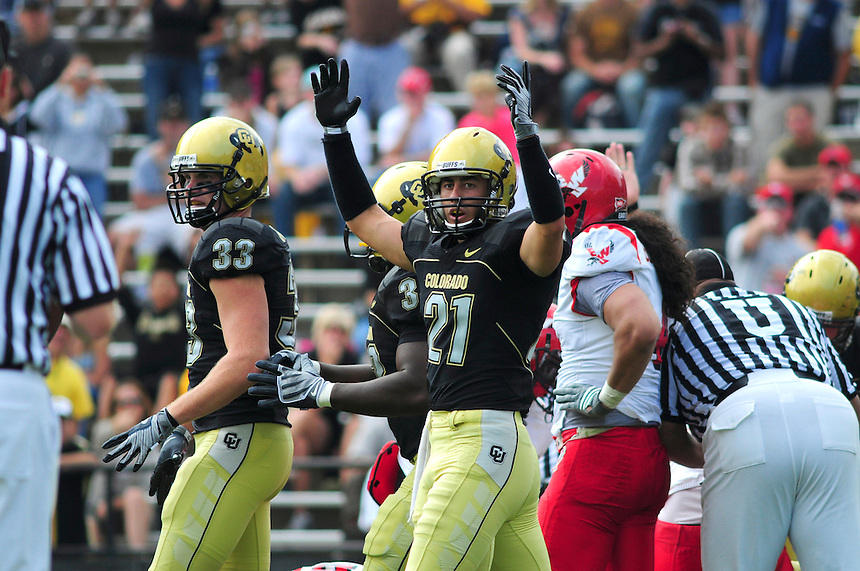 06 September 08: Colorado wide receiver Scotty McKnight (21) celebrates a Colorado touchdown against Eastern Washington. The Colorado Buffaloes defeated the Eastern Washington Eagles 31-24 at Folsom Field in Boulder, Colorado. FOR EDITORIAL USE ONLY