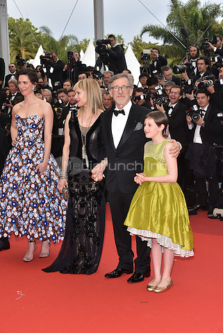 Jermaine Clement, Kate Capshaw, Steven Spielberg, Ruby Barnhill at 'The BFG' screening at the 69th International Cannes Film Festival, France<br /> May 14, 2016<br /> CAP/PL<br /> &copy;Phil Loftus/Capital Pictures / MediaPunch *** North American &amp; South American Rights Only***