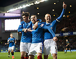 Danny Wilson celebrates his goal with Josh Windass and Kenny Miller