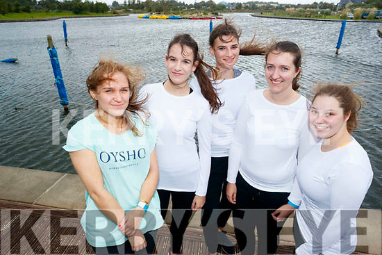 Helen Auger, Jana Mueller, Valetina Badengen, Magdalena Vichler and Sabine Toeller, who took part in the Colour Dash 5km Colour Run, in aid of Crumlin Children's Hospital at Tralee Bay Wetlands, on Sunday morning last.