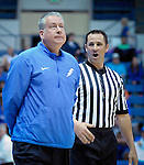 March 4, 2017:  Air Force head coach, Dave Pilipovich, shows his frustration during the NCAA basketball game between the Boise State Broncos and the Air Force Academy Falcons, Clune Arena, U.S. Air Force Academy, Colorado Springs, Colorado.  Boise State defeats Air Force 98-70.