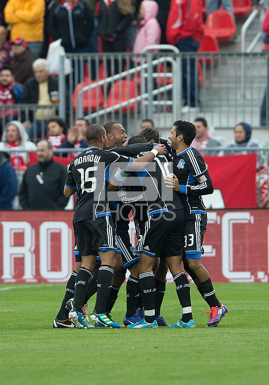 24 March 2012: The San Jose Earthquakes celebrate a goal by San Jose Earthquakes forward Chris Wondolowski #8 during a game between the San Jose Earthquakes and Toronto FC at BMO Field in Toronto..The San Jose Earthquakes won 3-0..