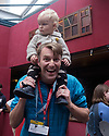 "Trygve Wakenshaw and his baby son, who is performing with him in his show ""Trygve vs a Baby"", at the ""Discover New Zealand at Edinburgh"" press launch, Assembly Bar, George Square, Edinburgh, during Edinburgh Festival Fringe."