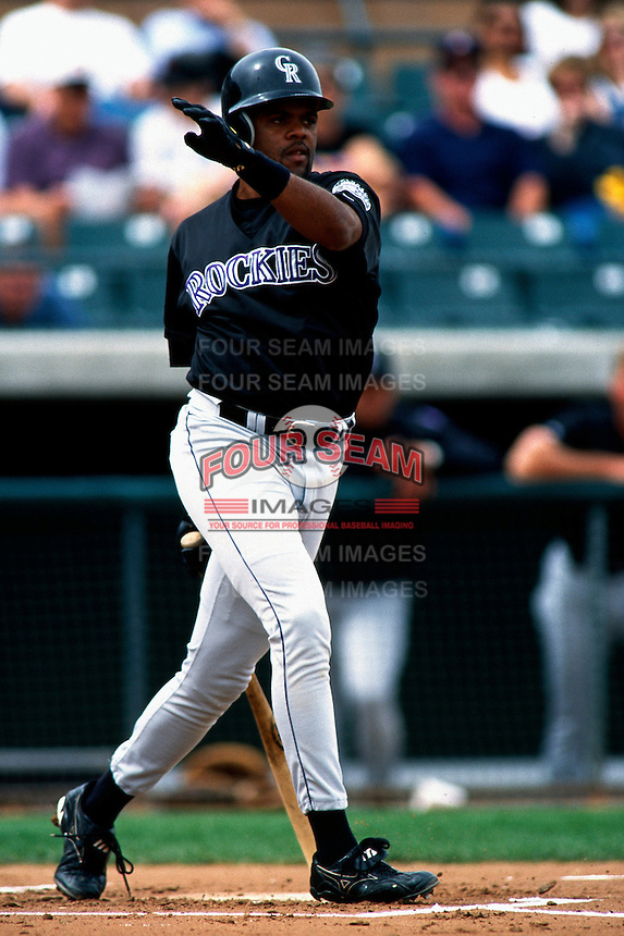 Neifi Perez of the Colorado Rockies participates in a Major League Baseball Spring Training game during the 1998 season in Phoenix, Arizona. (Larry Goren/Four Seam Images)