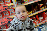 FREE PIC - NO REPRO FEE<br /> 24/09/2015 - Blackpool, Cork<br /> 14-month-old Archie O'Sulllivan from Knocknaheeny looking for some bargains at the official opening of the new Dealz store at Blackpool Retail Park, Cork.<br /> Pic: Brian Lougheed